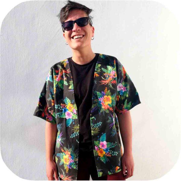 chaqueta kimono estampado floral hecha a medida