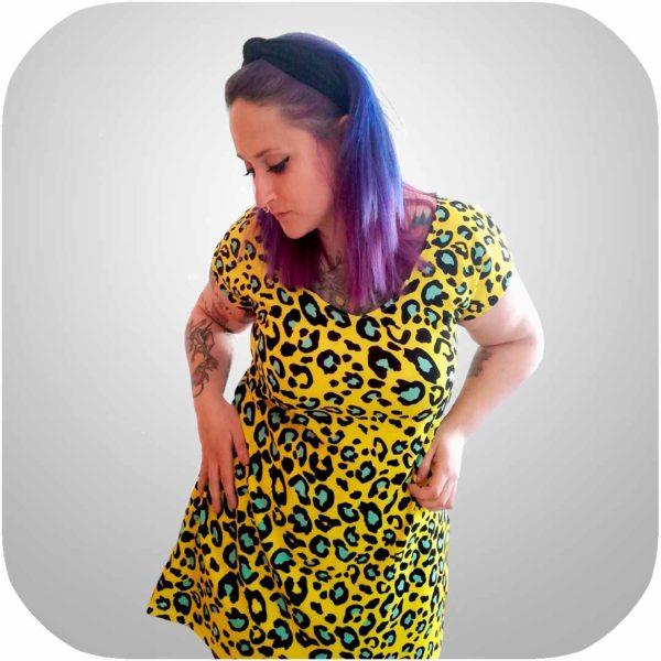 vestido leopardo amarillo a medida