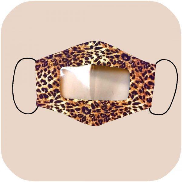mascarilla inclusiva homologada con estampado de leopardo